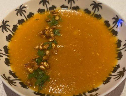 Soupe carotte-butternut-lait de coco-curcuma